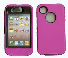 Built in Screen Protector Case / Cover IPHONE 4, 4S  HOT PINK / BLACK