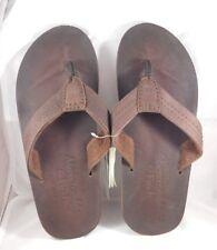 Abercrombie & Fitch Men's Brown Leather Flip Flops Sz Medium 8.5-9.5 NWT RT
