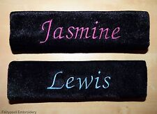 Two Black Personalised Seat Belt Covers Pads
