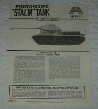 AURORA  STALIN TANK  MODEL KIT INSTRUCTIONS ONLY  1970  612  PHOTA-SCOPE