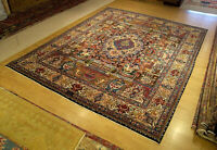 10 x 13 Signed Handmade Antique Persian Pictorial Kashmar Fine Quality Wool Rug