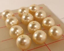 12 vintage large Czech glass pearl beads ivory 16mm smooth round beige