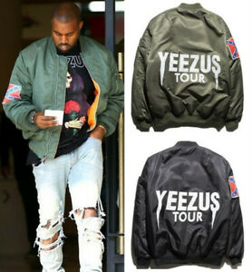 Men Ma-1 Flight Bomber Jacket Kanye West Yeezus God Tour Outwear Coat Sweatshirt