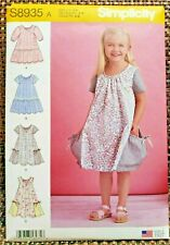 Simplicity S8935 Girls Dresses Sz 3-8 Swing Style Sleeveless or Short Sleeves