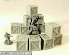 HC3D - Crates 15x15x15mm - 12 Pack -Terrain & Scenery Fantasy