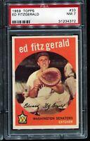 1959 Topps Baseball #33 ED FITZ GERALD Washington Senators PSA 7 NM