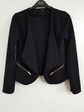 NEW Ex QUIZ 6-18 Waterfall Black Zip Blazer Jacket Formal Smart Wedding