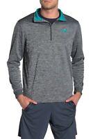 Under Armour Men's 1/2 half zip Fleece Pullover Sweater Grey Teal Size Large New