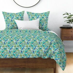 Birds And Blooms Challenge Birds Flowers Floral Sateen Duvet Cover by Roostery