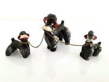 Vintage NAPCO Japan MCM Spaghetti Poodle Puppies Dog Chain Porcelain Animal Set