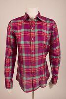Ralph Lauren Sport Women's Shirt Blouse Top Silk Sz 4 Plaid Button-Down Pink NWT