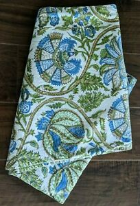 """POTTERY BARN Table Runner Blue Green Paisley Floral Cotton 16""""X90"""""""