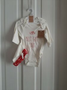 Rae Dunn Baby by Magenta 3 Pack Christmas Long-Sleeve Bodysuits 3-6M w/ Hat NEW!