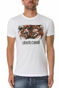 Roberto Cavalli Men`s T Shirt Short Sleeve Tiger Print 100% cotton White