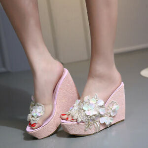 Womens Wedge Sandals Floral Beaded Sequins High Heel Slippers Platform Shoes