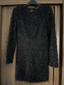 RIVER ISLAND FLUFFY BLACK JUMPER DRESS 10