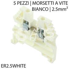 5X ER2.5WHITE MORSETTO A VITE PASSANTE BARRA GUIDA DIN 2.5mm² 600V 20A BIANCO
