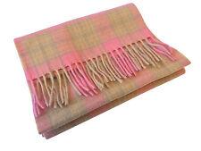 Scottish 100% Lambswool Rosa cream/brown cuadros tartán Bufanda Nuevo Con Etiquetas