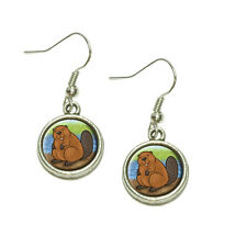 Beaver Dangling Drop Charm Earrings