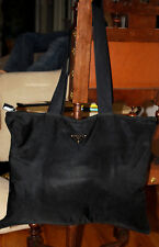 Prada Vela Nero Black Nylon Tote Shoulder Bag