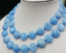 14mm Beautiful! Blue Aquamarine Coin Beads Gemstone Long Necklace 35'' AAA+
