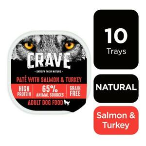 10 x 300g Crave Grain Free Natural Adult Wet Dog Food Trays Turkey & Salmon Loaf