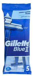 Gillette Blue II Chromium Coating Lubrastrip Razors 5pk