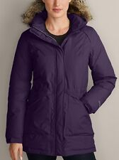 EDDIE BAUER Superior HOODED GOOSE DOWN PARKA TRENCH COAT JACKET PURPLE S $299