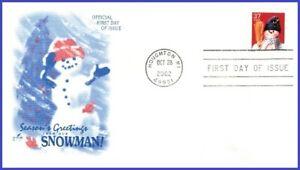 USA3 #3689 U/A ARTCRAFT FDC   Snowman Blue Plaid Scarf