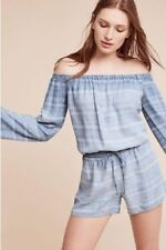 NWT Anthropologie Cloth & Stone Striped Off the Shoulder Chambray Romper XS