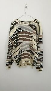 Vintage 90s Protege Collection Coogi Style Size XL Brown Grey Knit Jumper
