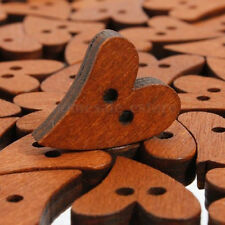 50PCS 2 Holes Brown Wood Wooden Sewing Heart Shape Button Craft Scrapbooking