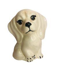 Vintage Hand Painted Ceramic White Dog Figurine 4.5� Statue