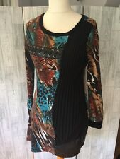 101 Idees Quirky Jumper Dress, Pleated Panel, Faux Leather Band Sz Med*