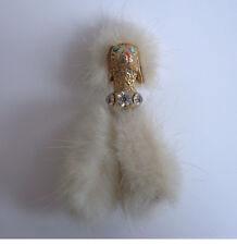 1950s vintage Poodle Fur Trim Diamante Pin Brooch dog costume jewellery art