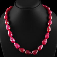 469.95 CTS EARTH MINED RICH RED RUBY PEAR SHAPED FACETED BEADS NECKLACE STRAND