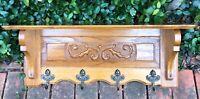 French Oak Carved Hanging Shelf Coat Hat Rack Kitchen Rack 4 Cherub Brass Hooks