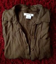 """""""Authentic Lacoste Safari Shirt Olive Green Double Pockets Made In Portugal EUC*"""