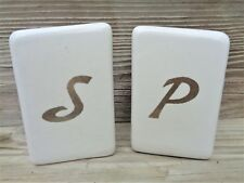 Vintage Stove Top White Salt and Pepper Set Heavy China Silver Letters