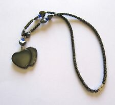 Fashion Necklace -Hematite- heart pendant two solid hearts blue beads