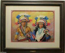 Zuni Rainbow Dancers Carol Theroux Original Pastel Painting 27x33 Frame Mat COA