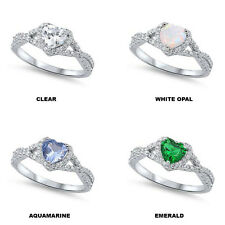 Multi Gemstone Heart & Cz Infinity knot engagement Promise Sterling Silver Ring