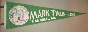 VINTAGE SOUVENIR FELT PENNANT MARK TWAIN CAVE HANNIBAL MO 1950s  Entrance Image