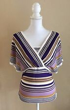LUISA SPAGNOLI WOVEN VISCOSE OVERLAP STRIPED PULLOVER BLOUSE TOP~ITALY~$340~WOW!