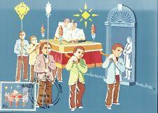 (07208) Malta Maxicard Postcard  Christmas Eve Procession Valletta 18 Nov 1981