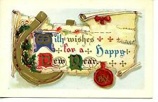 Good Luck Horseshoe-Scroll-1912 Happy New Year Holiday Greeting-Vintage Postcard
