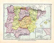 VICTORIAN MAP ~ SPAIN & PORTUGAL ~  PENINSULAR WAR