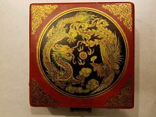Antique Chinese Portable Compass in Lacquered Wooden Case w/Brass Pieces