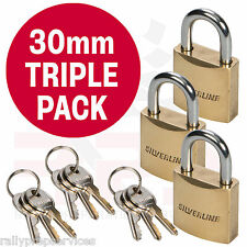 TRIPLE PACK 30mm Brass Padlock Chrome Plated + 3 KEYS Luggage Locker Garage Shed