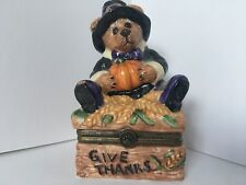 Boyds Bearware Pottery Thanksgiving Pilgrim Bear Trinket Box Give Thanks 3E/2160